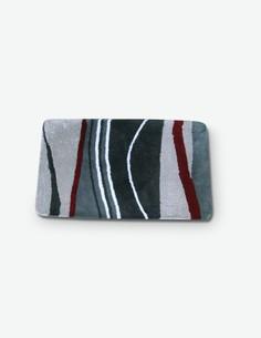 Bath - Tappeto da bagno in 100 % acrile, rosso/grigio, disponibile in diverse misure
