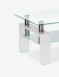 Culeo - Couchtisch aus Glas mit 1 Ablage, in 2 verschiedenen Farben verfügbar - weis - Detail
