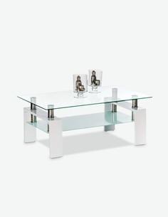 Culeo - Tavolino da soggiorno in vetro con 1 ripiano, disponibile in 2 diversi colori - bianco