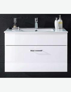Silas - Waschbecken mit 1 Schubkasten in weiß Hochglanz - Frontalansicht