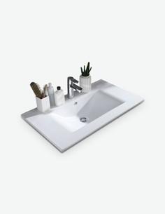Silas - Waschbecken mit 1 Schubkasten in weiß Hochglanz - Detail