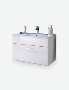Silas - Lavabo con 1 cassetto compreso in bianco lucido / opaco d'imitazione