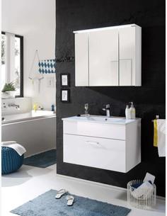Silas - Waschbecken mit 1 Schubkasten in weiß Hochglanz