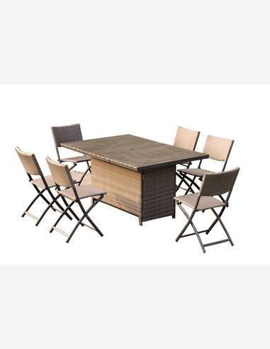 Set da giardino in rattan sintetico incl tavolo e 6 sedie - Set tavolo e sedie rattan ...