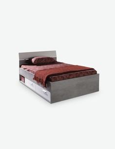 Pedri - Einzelbett aus Holzdekor mit 2 Schubkästen