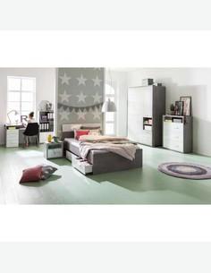 Pedri - Kleiderschrank aus Holzdekor in der Farbe Beton / weiß glanz, mit 3 Türen, 2 Schubkästen und 2 offene Fächer Milieu