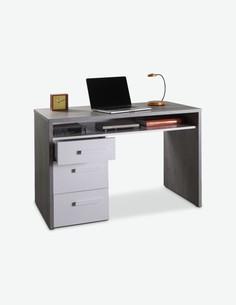 Pedri - Scrivania con 3 cassetti ed 1 vano aperto per la tastiera, in legno d'imitazione colore cemento / bianco lucido