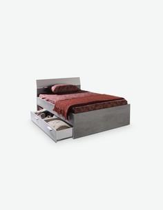 Pedri - Letto singolo in legno d'imitazione con 2 cassetti