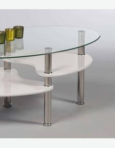 Patty - Tavolino ovale da soggiorno in vetro temperato, bianco - dettaglio