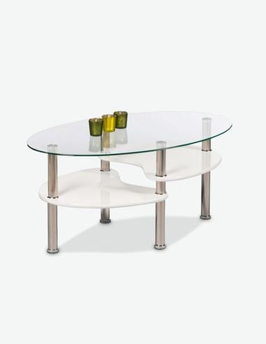 Patty - Tavolino ovale da soggiorno in vetro temperato, bianco