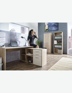 Leon - Schreibtisch - Eiche Sonoma / weiß Dekor - milleu
