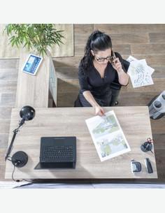 Leon - Schreibtisch - Eiche Sonoma / weiß Dekor - Oberansicht
