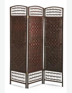Paravento pieghevole con 3 pannelli , marrone scuro