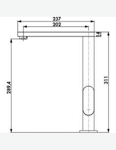 Dritto - Miscelatore lavello - misure