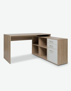 Leon - Schreibtisch - Eiche Sonoma / weiß Dekor - Schubkasten geschlossen