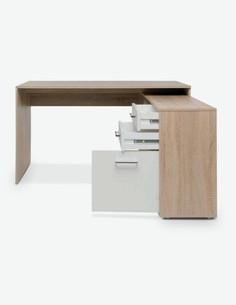 Leon - Schreibtisch - Eiche Sonoma / weiß Dekor – seitlich - Schubkasten offen