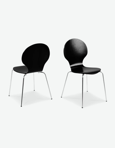 Ammi - Sedia accatastabile, Telaio cromato, seduta e schienale in legno - nero - ritagliato