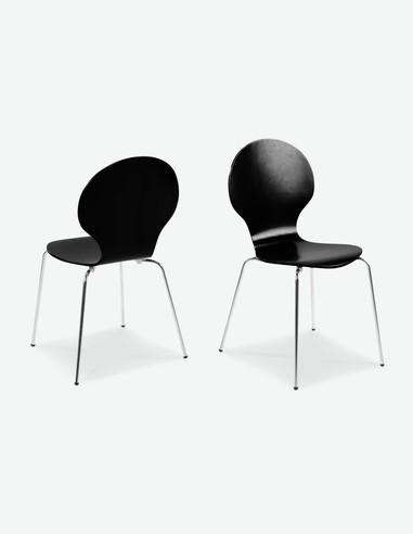 Ammi - Stapelstuhl, Gestell verchromt, Sitz - und Rückenlehne aus Holz - schwarz - freigestellt