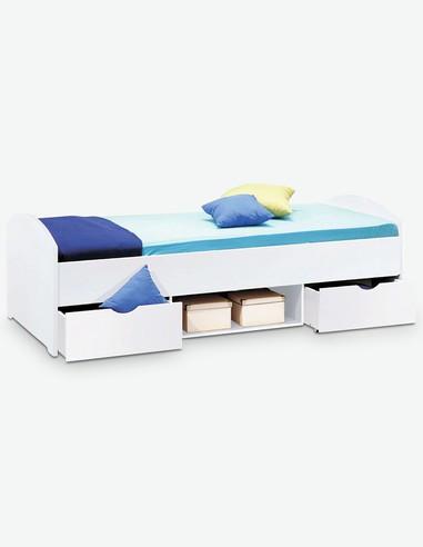 Nemu - Fusto del letto per bambini / ragazzi in bianco d'imitazine