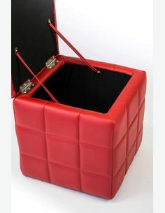 AVANTI TRENDSTORE Kubostore Dimensioni: Lap 40x42x40 cm Bianco Disponibile in Diversi Colori Pouf Contenitore in Ecopelle Trapuntata