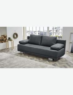 Jobla - Sofa mit Bettkasten und schlaffunktion, aus Mikrofaser, dunkelgrau