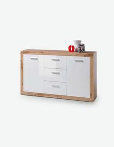 Blico - Kommode mit 2 Türen und 3 Schubkästen, aus Holzdekor in Wildeiche / weiß glanz
