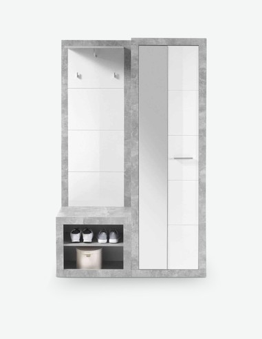 Solaika - Komplett Garderobe aus Holzdekor, farbe Beton / weiß glanz