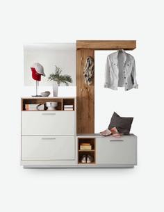 Milani - Kompaktgarderobe aus Holzdekor, farbe Wildeiche / weiß