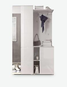 Spilla - Komplett Garderobe aus Holzdekor, farbe weiß / weiß hochglanz