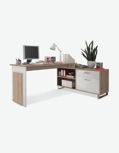 Malmo - Scrivania ad angolo in legno truciolato con comó integrato, colore quercia Sonoma / bianco