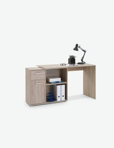 Elsa - Schreibtisch aus Holzdekor mit 2 offenen Fächern, 1 Tür und 1 Schublade