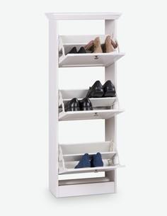 Lando - Schuhkipper aus Holzdekor in weißer Farbe, bietet 3 Klappen