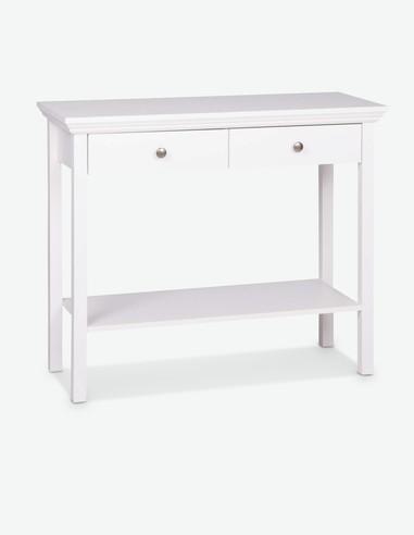 Lando - Deko Tisch aus Holzdekor in weißer Farbe, bietet 2 Schubkästen und 1 Ablage