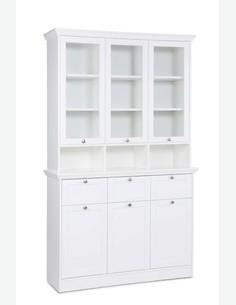 Lando - Buffetschrank aus Holzdekor in weißer Farbe mit Glastürenaufsatz