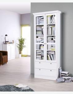 Lando - Vetrina, in legno laminato di colore bianco