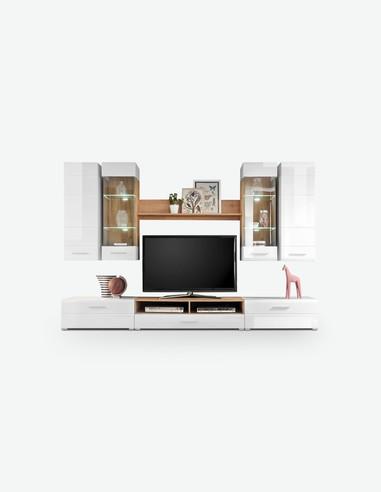 Laxos - Wohnwand aus Holzdekor, Fronten in weiß hochglanz und Korpus aus Wildeiche mit integrierter LED-Beleuchtung
