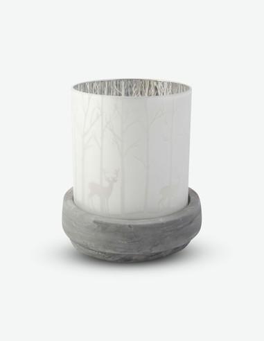 Beta - Portacandele in vetro con base in cemento