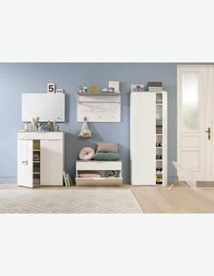 Cinzia - Garderobenschrank mit 2 Türen, 5 Einlegeböden und 1 Kleiderstange