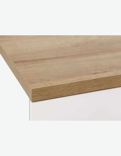 Rivo - TV Unterteil mit 2 Türen und 2 offene Fächer aus Holzdekor in Riviera Eiche / weiß Hochglanz, mit Push-to-open Funktion