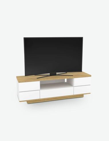 AVANTI TRENDSTORE Dimensioni Lap 129,3x43,6x40 cm Composto da 2 Ante a battante e 2 cassetti Tiziana Mobile TV in Legno Laminato di Colore Quercia San Remo Sabbia
