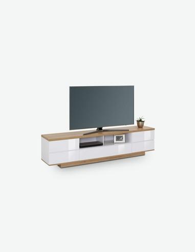 Rivo - TV Unterteil mit 2 Türen, 1 Klappe und 2 offene Fächer aus Holzdekor in Riviera Eiche / weiß Hochglanz