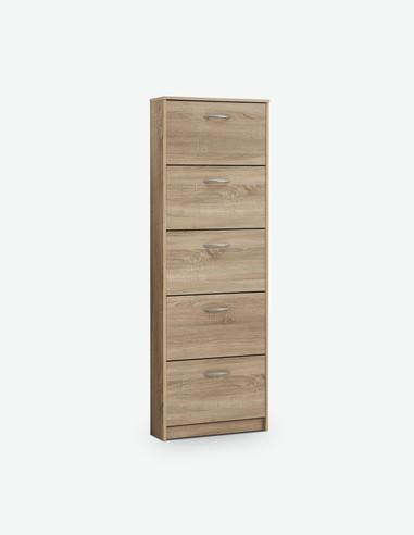 Steppi - Schuhschrank mit 5 Klappen aus Holzdekor, in 2 verschiedenen Farben verfügbar