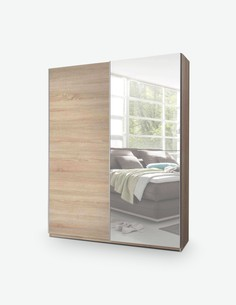 Victoria - Schwebetürenschrank mit 1 Spiegelfront aus Holzdekor