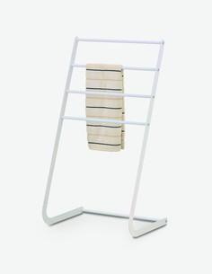 Leandro - Portasciugamani di colore bianco in metallo, offre 4 aste per posizionare vari asciugamani