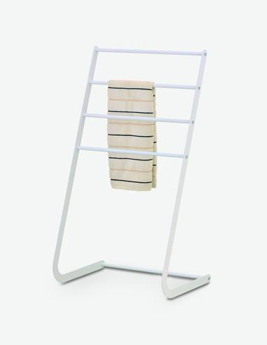 Leandro - Handtuchständer aus weißem Metall, mit 4 Stangen, bietet genügend Platz für meherer Handtücher