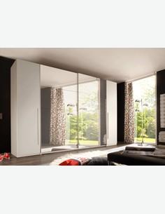 Match - Kleiderschrank mit Dreh- und Schwebetüren mit Spiegelfront in Holzdekor in der Farbe weiß