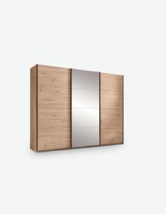 Olmo - Schwebetürenschrank aus Holzdekor mit 3 Türen, davon di mittlere verspiegelt ist