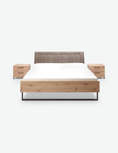 Olmo - Fusto letto in legno laminato di colore quercia artigianale con incluso 2 comodini
