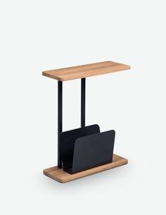 Giulio - Tavolino con portagiornali integrato, in legno laminato e metallo