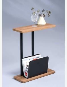 Giulio - Beistelltisch mit Zeitungsablage, aus Metall und Holzdekor, in verschiedenen Farben verfügbar